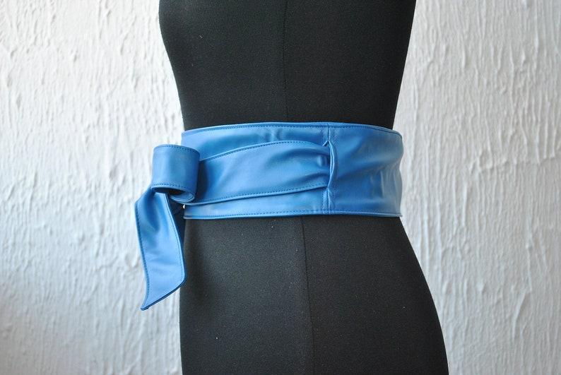 BLUE leather obi belt Leather obi belt Obi belt Blue leather belt