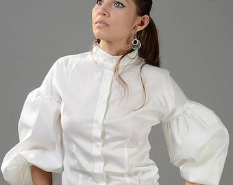 259fc3012d1731 Puff Sleeve Blouse, White Top, Edwardian Blouse, Victorian Top, Women Blouse,  White Shirt, Plus Size Clothing, Sexy Blouse, Collar Shirt