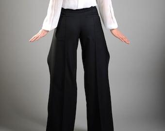 Formal High Waisted Pants, Long Wool Pants