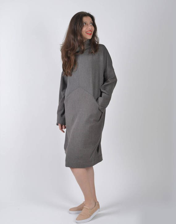 Dress Dress Dress Oversized Gray Clothing Sleeve Dress Sweater Dress Long Wool Size Winter Dress Dress Plus Women Winter Dress OwHqgw8