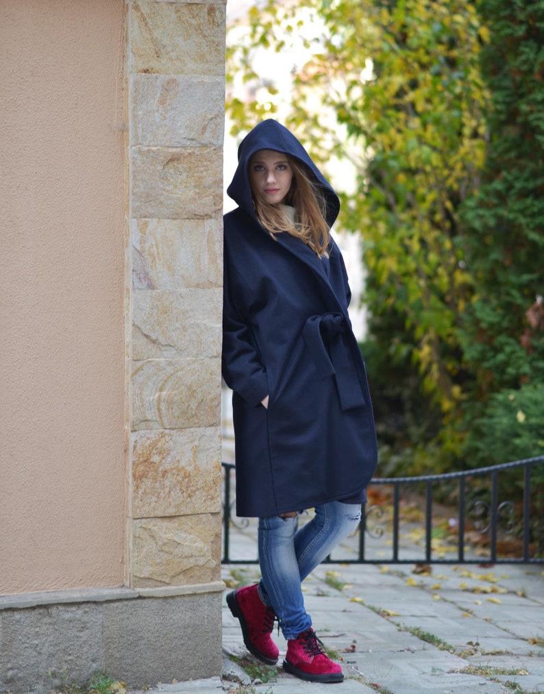 424c6918222 Winter Coat Hooded Coat Dark Blue Coat Wool Coat Plus Size