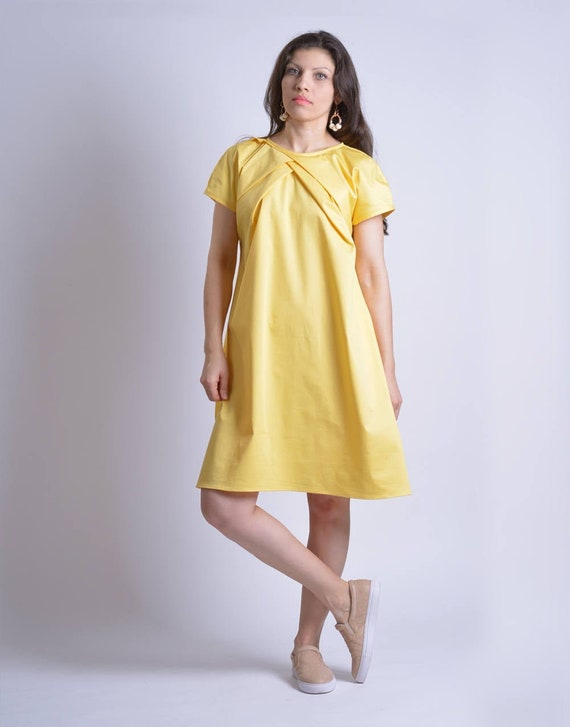Lemon Yellow Dress, Plus Size Dress, Short Dress, Yellow Summer Dress, Oversize Dress, Loose Fit Dress, Minimalist Dress, Beach Dress