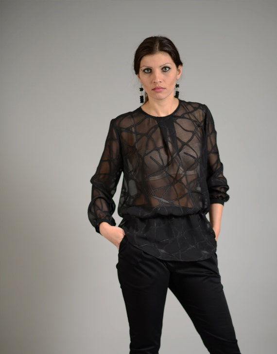Top For Women See Through Blouse Lace Top Sheer Black Top Etsy