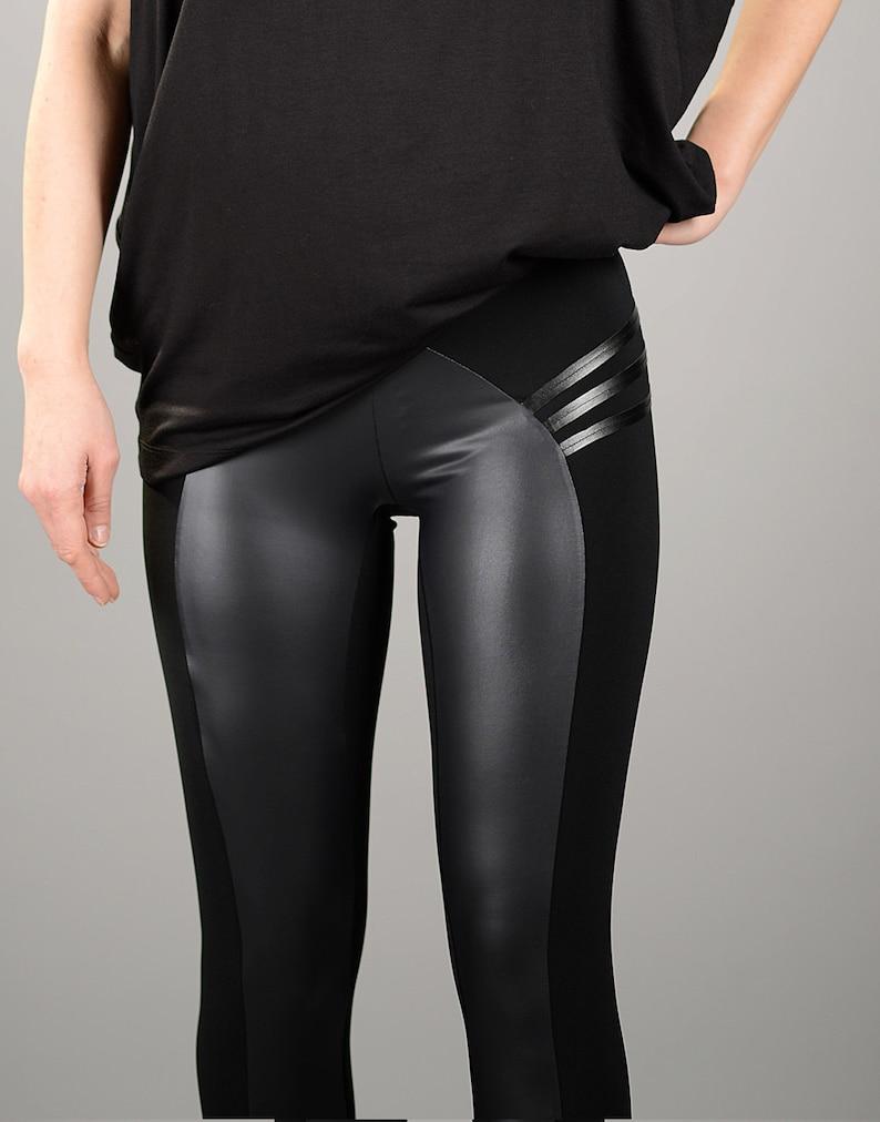 deae61f38aaf2 Leather Leggings Black Leggings Womens Leggings Yoga Pants | Etsy