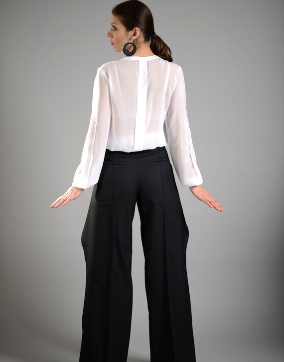 Formal Pants Suit Pants Palazzo Pants High Waisted Pants Etsy