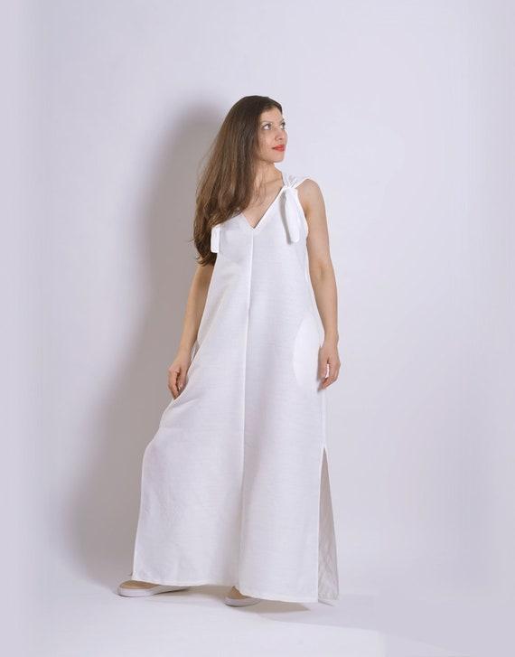Maxi Linen White Dress Dress White Clothing Plus Dress Linen Summer Dress Linen Clothing Summer Size Dress Dress Dress Hooded Elven wCvq8vxtB