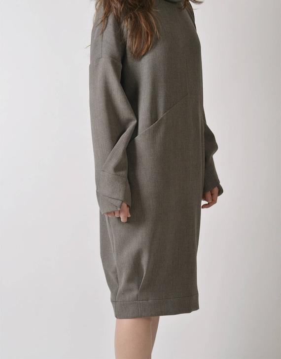 Dress Dress Dress Oversized Gray Clothing Sleeve Dress Sweater Dress Long Wool Size Winter Dress Dress Plus Women Winter Dress OwHqgw8