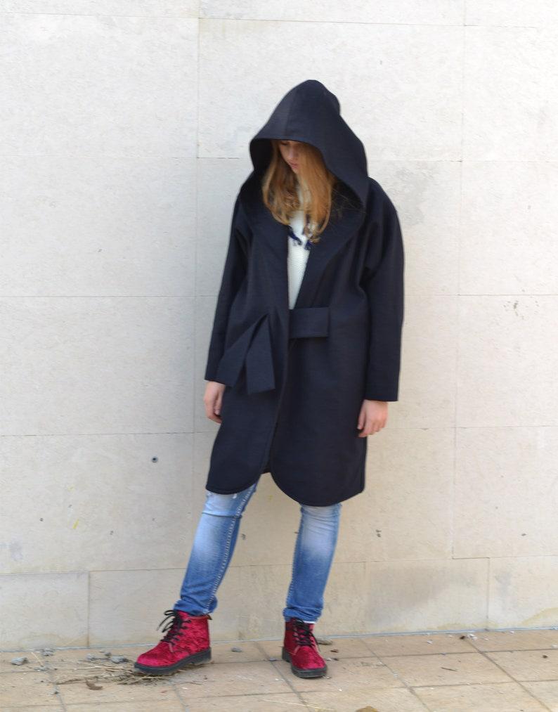 Beige Wool Cardigans Kimono Coats Dark Blue Coat Oversize Coat Winter Hooded Coat