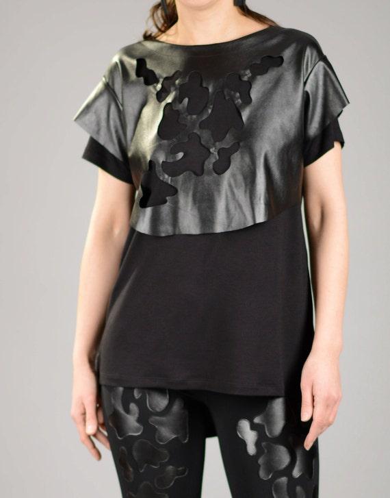 ff10eaa5376ffe Plus Größe Top schwarze Bluse Ledertop Sexy schwarzes Top | Etsy