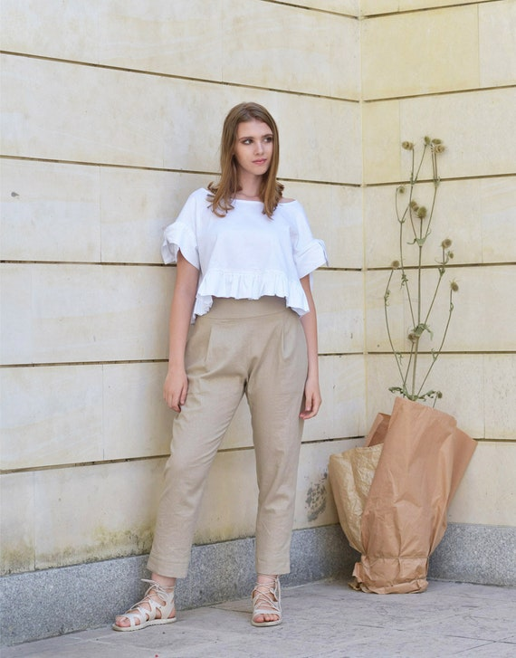 Linen trousers | Light beige | Men | H&M AU | Pants outfit