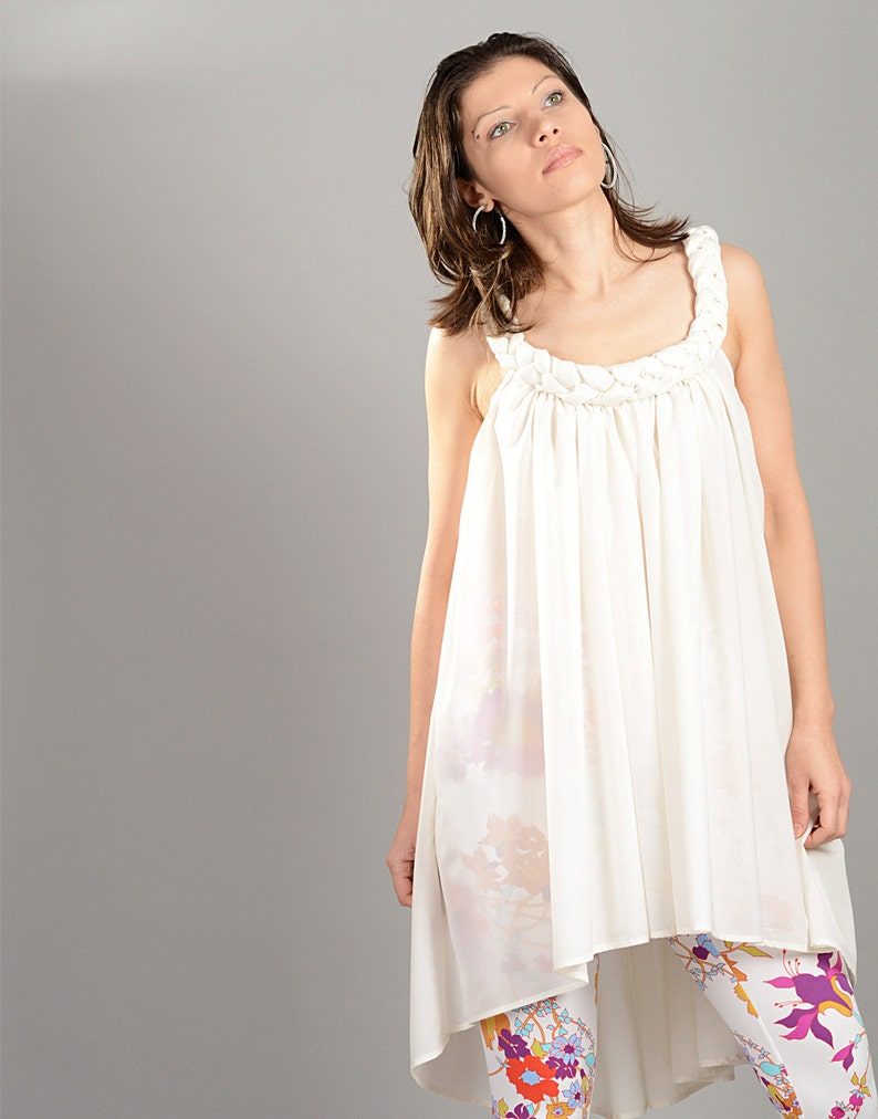 White Tunic, Plus Size Dress, See Through Dress, White Summer Dress, Tunic  Dress, Loose Dress, Elegant Women Dress, Short Dress, Beach Dress