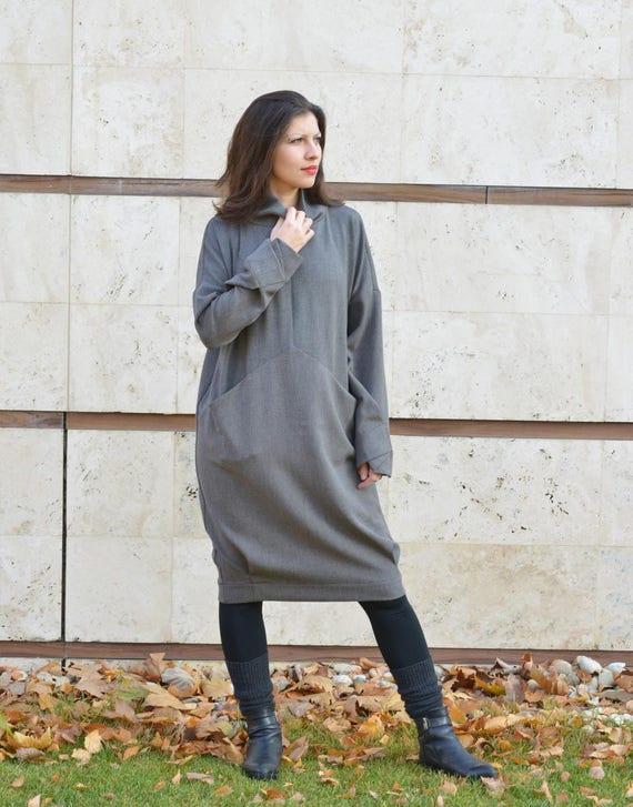 Wool Dress, Women Dress, Sweater Dress, Minimalist Dress, Winter Dress,  Plus Size Dress, Long Sleeved Dress, Midi Dress, Loose Dress
