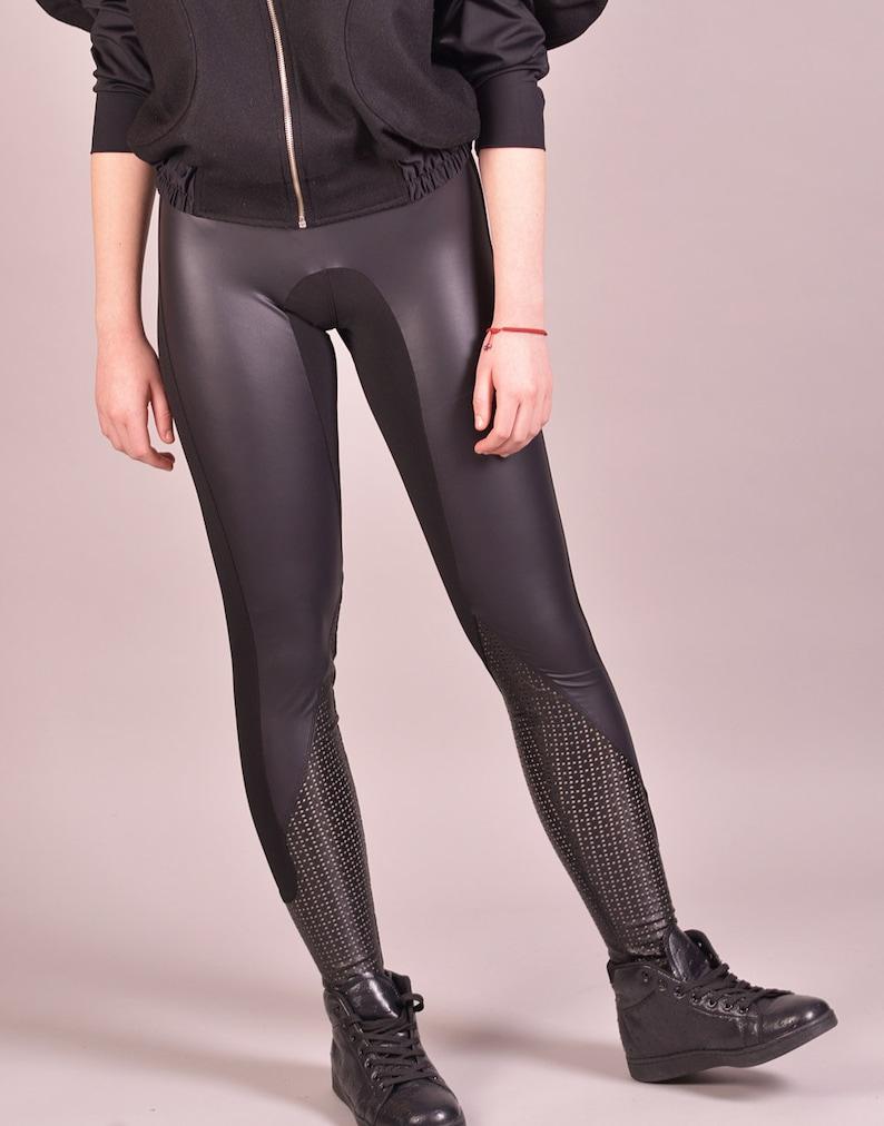 eadf178933aeb Latex Clothing Spandex Leggings Sexy Pants Black Leggings | Etsy