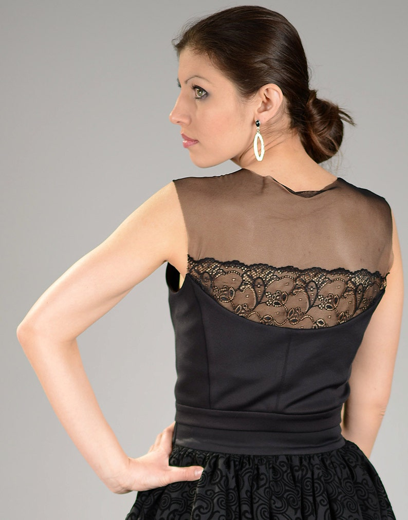 Abbigliamento E Accessori Donna: Abbigliamento Body Nero Pizzo Trasparente Tulle Sexy Donna Top Maglia Maglietta Elegante Canot