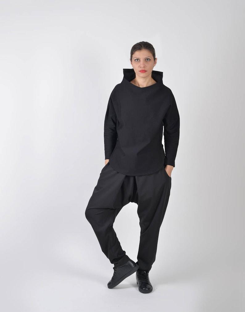 Nero camicetta Casual abbigliamento Steampunk Top nero  cdd155d2793