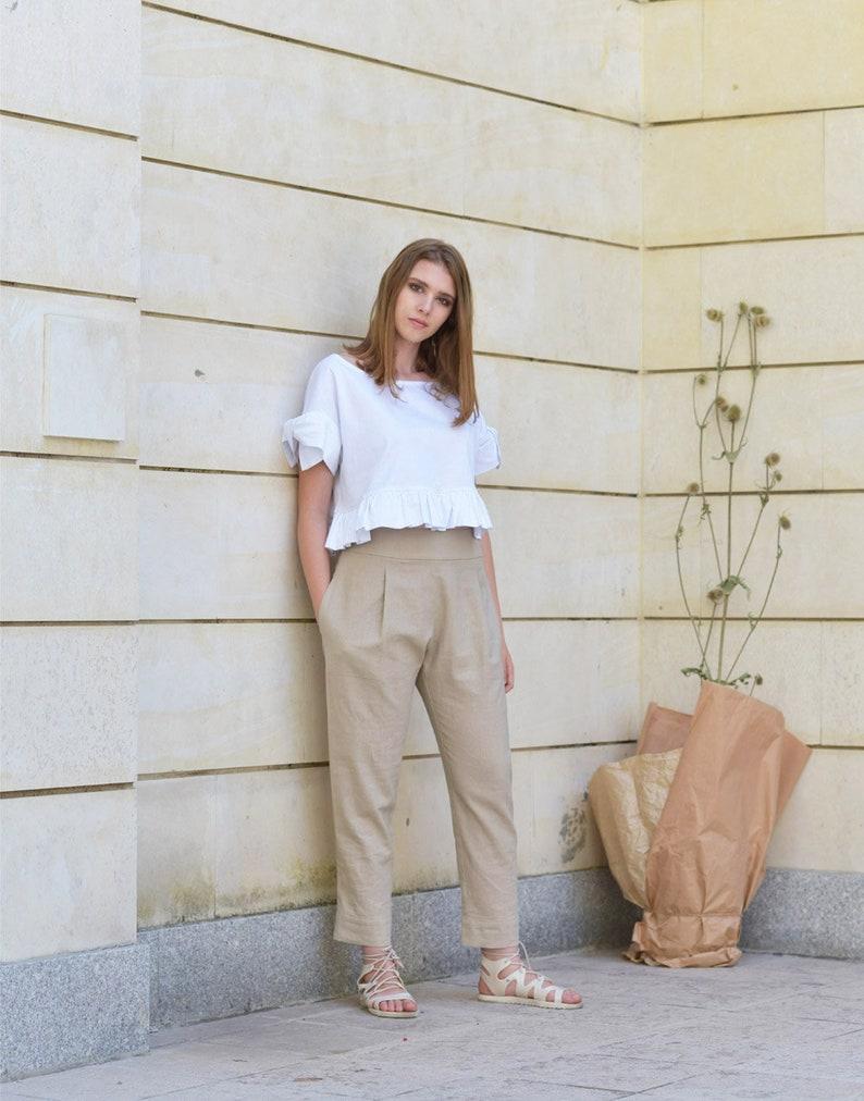 8e2deabd352a Pantaloni di lino lino Pantaloni donna pantaloni larghi | Etsy