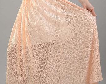 Summer Maxi Skirt, High Waist Skirt, Lace Skirt, Plus Size Skirt, Full Skirt, Sheer Skirt, Pink Skirt, See Through Skirt, Romantic Skirt