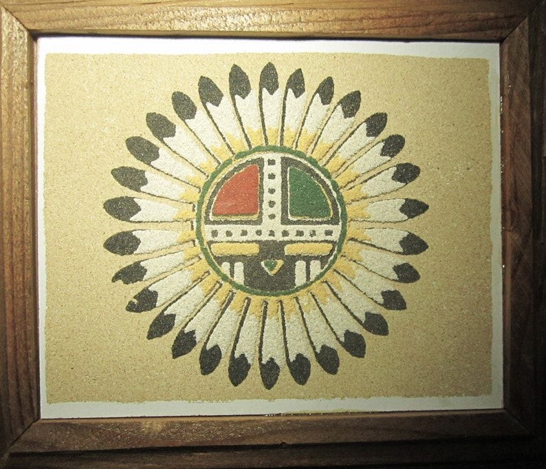 Authentic Navajo Sand Painting Dry Painting of Sun God, 20th Century - Very  Good Condition