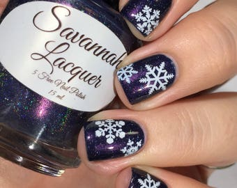 White And Blue Snowflakes Christmas Nail Art Water Decals