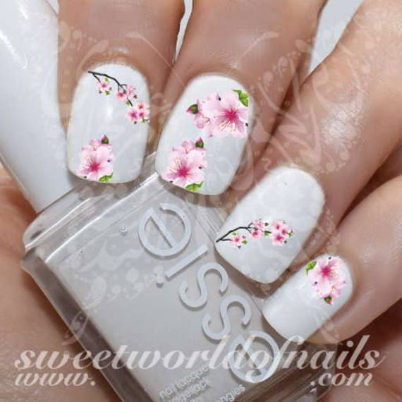 Cherry Blossoms Nail Art Japanese Tree Sakura Nail Water | Etsy