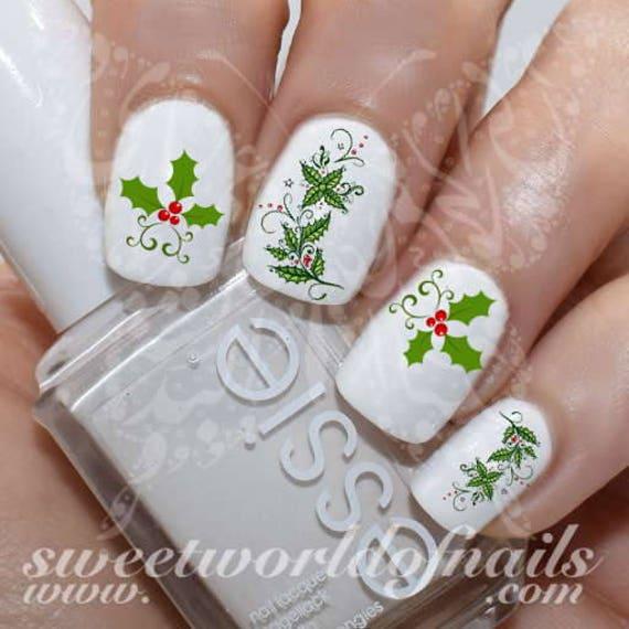 Christmas Nail Art Holly Berry Nail Water Decals Etsy