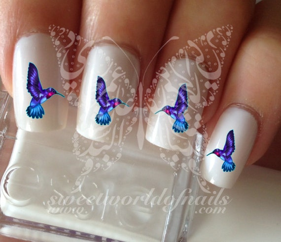 Bird Nail Art Hummingbird Nail Water Decals Transfers Wraps Etsy