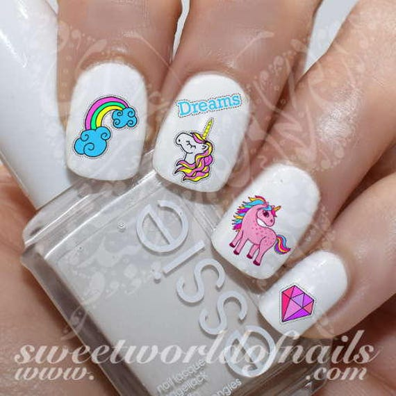 Unicorn Nail Art Rainbow Diamond And Clouds Nail Water Decals Etsy