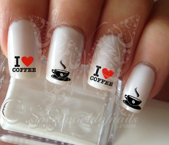 Nail Art I Love Coffee Nail Water Decals Transfers Wraps Etsy