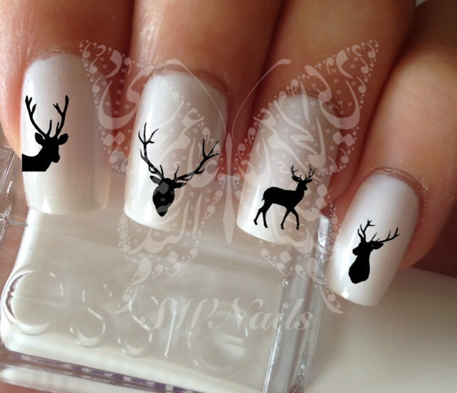 Deer Nail Art Nail Water Decals Transfers Wraps Etsy