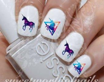40 Galaxy Unicorn Nail Decals
