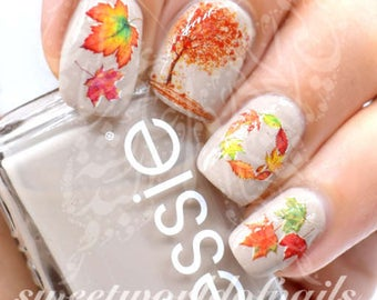 Autumn Fall Nail Art Trees and Leaves Nail Water Decals