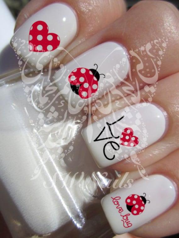 Nail Art Coccinella Ladybird Lovebug Rosso Cuore Nail Acqua Etsy