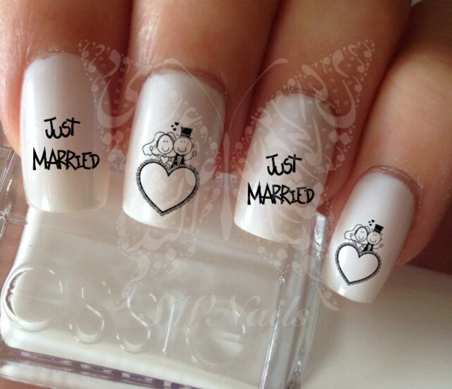 Nail Art Wedding Just Married Nail Water Decals Transfers Etsy