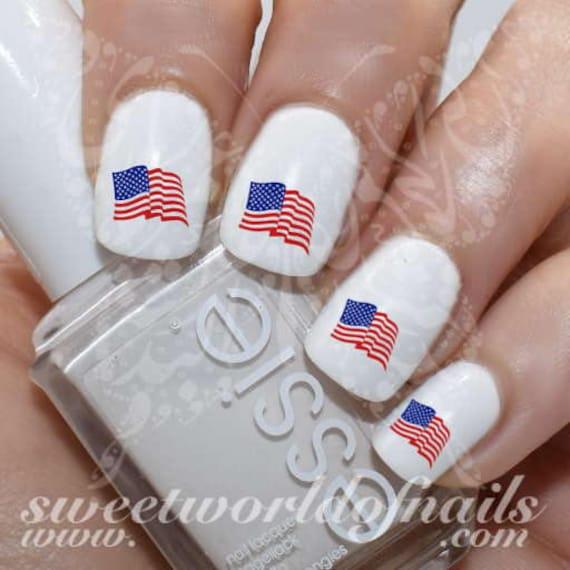 4th Of July Nail Art Patriotic Waving American Flag Water Etsy