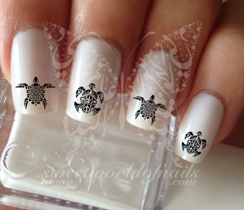 16. Tribal Turtle Nail Art Nail Decals