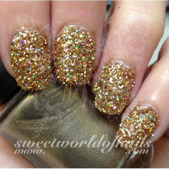 Nail Glitter Gold Sparkle Glitter Dust Powder Nail Art 2 Etsy