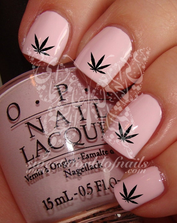 Hash Weed Leaf Nail Art Nail Water Decals Transfers Wraps Etsy
