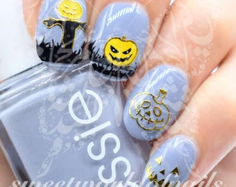 Halloween Nail Art Scary Pumpkin Gold Stickers