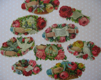 Victorian Die Cuts Small Depictions of Roses, Baskets, Birds, Ribbons and Sayings, Unused