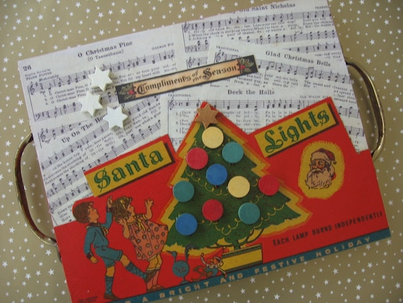 Musical Christmas Lights.Handcrafted Wood Christmas Plaque Adorned With Vintage Christmas Music Christmas Lights Box Lid Game Pieces Old Drawer Pulls Made By Me