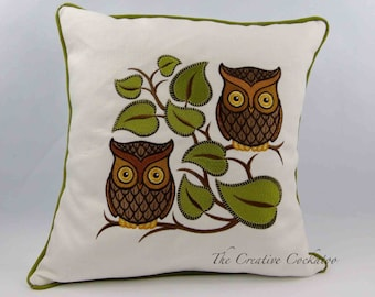 embroidered cushion, retro owl design, bird lover's gift, throw pillow cover, raptors, decorative pillow, nature gift, accent pillow cover