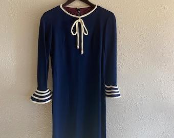 60s Mini Dress  Vintage 1960s Cream Off White Navy Blue Ship Boat Novelty Print Micro Tunic  Women Small Medium  Mod Button Up Nautical