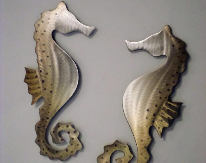 Seahorse Metal Art, Set of two, One of a kind Hand-Made, Seashell, Sea life, Ocean, Beach,Reef,Coral
