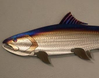 Metal Salmon set of 3 //Coho//Chinook//Fish,Fishing,Cabin.Lodge,Art,Wall,Home decor