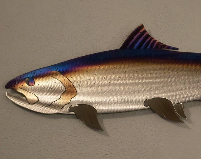 One of a kind Hand-Made,Hand-Cut,Heat-Treated / Torch Colored Metal Salmon,Chinook,King 24 1/2''  Long One of a Kind