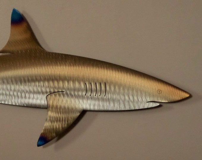 One of a kind Hand-Made,Free Hand-Cut,Heat-Treated/Torched Colored Reef Shark