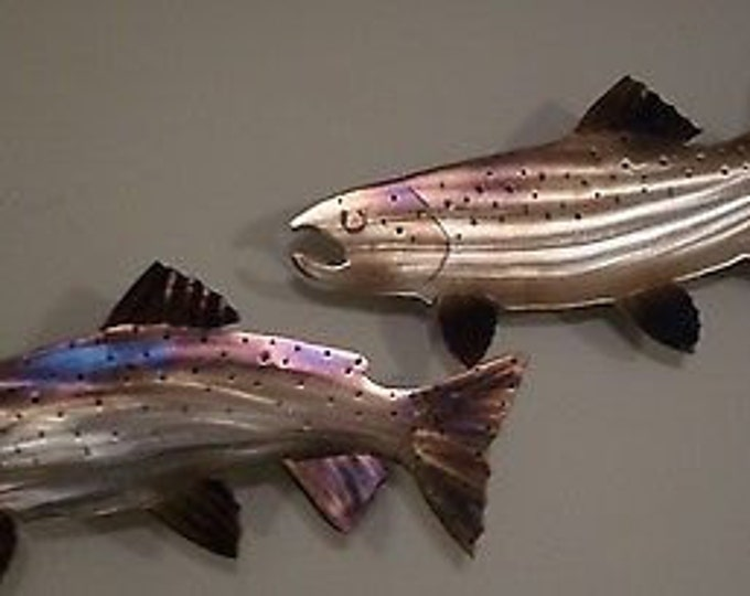 One of a kind Hand-Made,Hand-Cut,Heat Treated/Torch Colored Set Steelhead,Trout,Fish