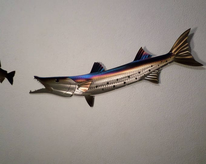 One of a kind Hand-Made Metal Barracuda,Hand-made,Fish,Fishing,Cabin.Lodge,Art,Wall,Home decor,Wildlife