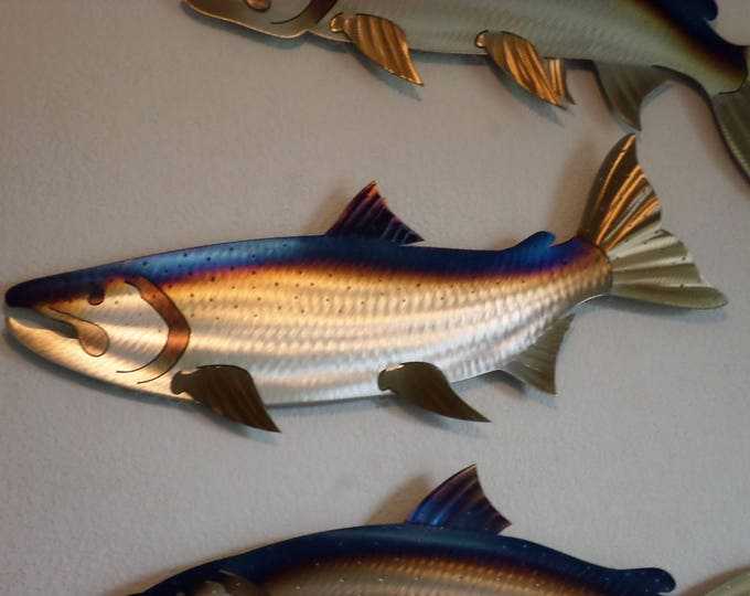 Hand-Made Free Hand-Cut  Heat-Treated/Torch Colored Metal Salmon, Coho, SC Country Metal Creations