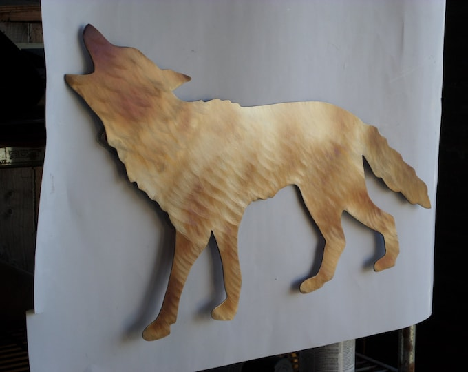 One of a kind Hand-Cut Hand-Made Heat/Torch Colored Coyote,Song Dog.